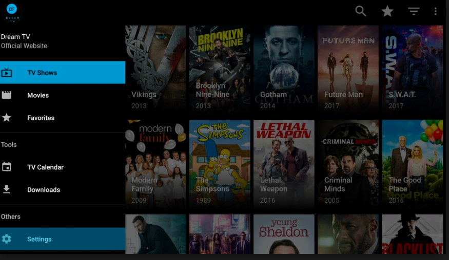 Dream TV Movies App Home Screen